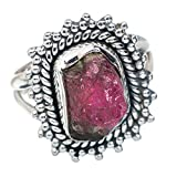 Rough Watermelon Tourmaline Ring Size 6 (925 Sterling Silver) - Handmade Jewelry RING883109