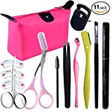 Tweezers and Scissors Set for Eyebrow, Aooher Eyebrows Stencil Shaping Template with Curved Trimmer for Imgrow Hair Removal, Eyebrow Grooming Kit with Makeup Bag (11pcs)