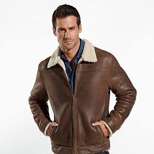 Leather flight jacket with full shearling