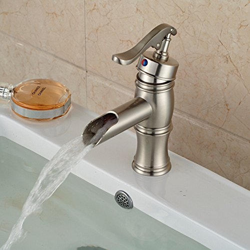 Dayanand Sink Faucet Waterfall Spout Bathroom Sink Faucet Antique Copper Basin Mixer Tap The waterfall bathroom vessel sink with faucet deck hill small hot and cold water faucet Shower Faucet ()