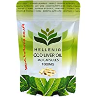Hellenia Cod Liver Oil High Strength 1000mg - 360 Capsules - One Year Supply