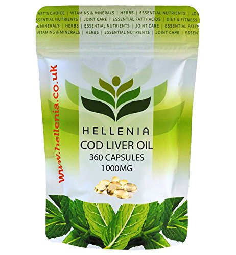 Hellenia Cod Liver Oil High Strength 1000mg - 360 Capsules - One Year...