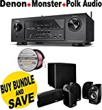Denon AVR-S710W 7.2 Channel Full 4K Ultra HD A/V Receiver with Bluetooth and Wi-Fi + Polk Audio 5.1 TL1600 Speaker System + Monster - Platinum XP Clear Jacket MKIII 50' Compact Speaker Cable - Clear/Copper Bundle