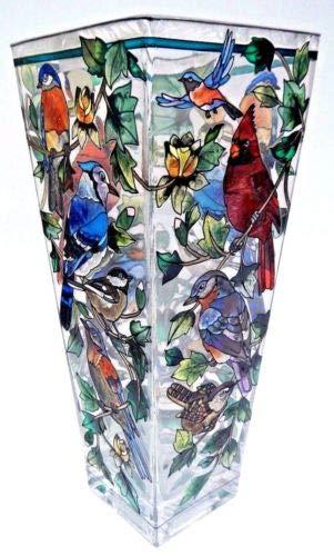- Stained Glass Vase Birds Cardinal Blue Jay 4.25