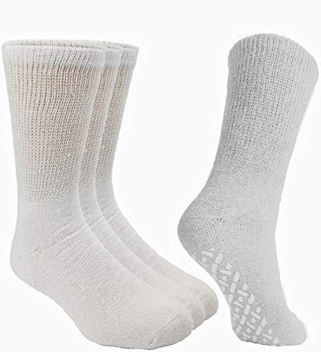 Debra Weitzner Non-Binding Loose Fit Sock - Non-Slip Diabetic Socks for Men and Women - Crew 3Pk White