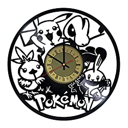 Pokemon Pikachu Kids design vinyl wall clock - gift idea for men women friends girlfriend and boyfriend - home & office living room wall decor - customize your clock