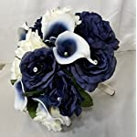 Navy-Blue-Ivory-Rhinestone-Rose-Calla-Lily-Bridal-Wedding-Bouquet-Boutonniere