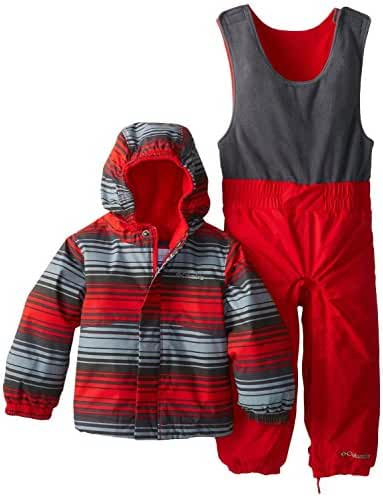 Columbia Kids Fresh Pow Bib and Jacket Set - Bright Red Print (3-6 Months)