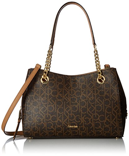 Calvin Klein Marie Monogram Signature Satchel, Brown/Khaki