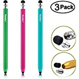 Metal Pencil-style Stylus Pen, Honsky 3 Packs of Six Sided Universal Sensitive Capacitive Stylus for Touch Screen, Apple iPad, iPhone, Samsung, LG, Other Android Devices, Blue,Hot Pink, Green