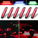 Botepon 6Pcs Led Rock Lights, Strip Lights, Wheel Well Lights, Led Underglow Kit for Golf Cart, Jeep Wrangler, RZR, Offroad, F150, F250, Snowmobile (Red)