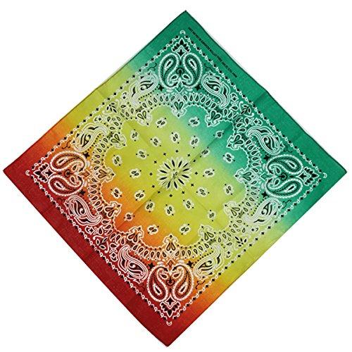 Rainbow Bandana Hippie Headband Men and Women, 12 Pieces 100% Cotton Cowboy Head Wrap Scarf Solid Color - Paisley Hippie