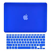 """Unik Case-2 in 1 13 Inch Rubberized Hard Case & Silicone Skin for Macbook 13"""" Air A1369/A1466 Shell Cover-Royal Blue"""