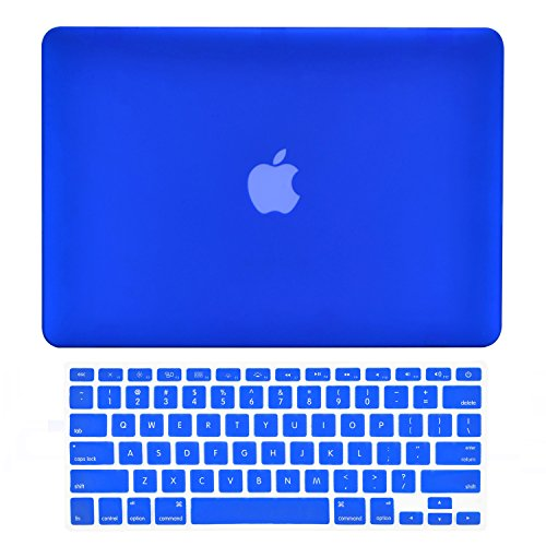 TOP CASE - 2 in 1 Rubberized Hard Case Cover and Keyboard Cover Compatible with MacBook Air 13 A1369 & A1466 - Not Compatible 2018 Version A1932 MacBook Air 13 Retina Display - Royal Blue