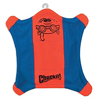ChuckIt! Flying Squirrel Spinning Dog Toy, Large (Orange/Blue)
