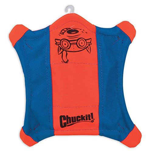 Chuckit! Flying Squirrel Spinning Dog Toy,  (Orange/Blue), Multicolor, Medium (10 in x 10 in) (0511300)