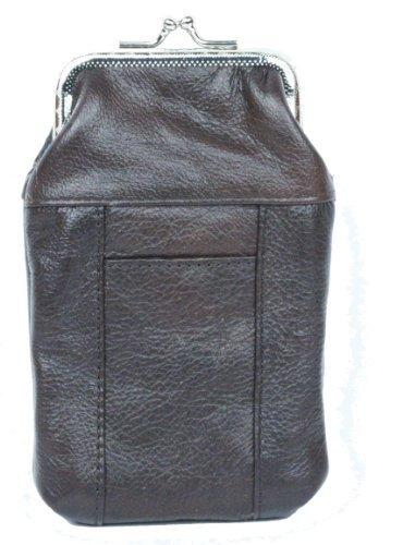 (Womens Leather Cigarette Case & Lighter Holder (Dark Brown))