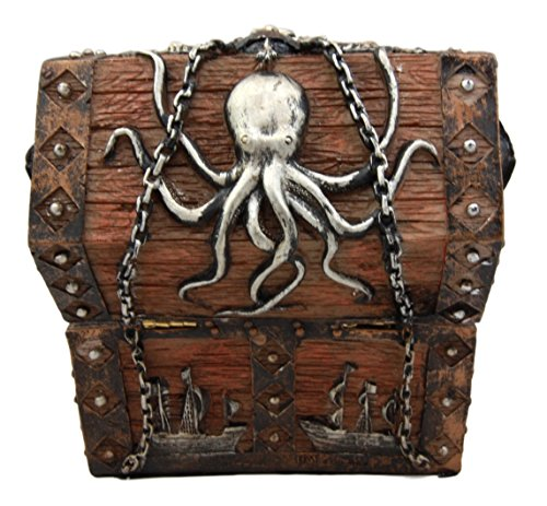 Atlantic Collectibles Caribbean Kraken Octopus Pirate Haunted Chained Skull Treasure Chest Box Jewelry Box Figurine 5''L by Ebros Gift (Image #5)