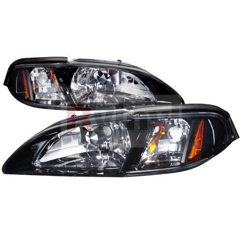 Glossy Black 1994-1998 Ford Mustang Smoke Headlight+Corner Lamps 94 95 96 97 ()