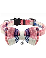 Breakaway Cat Collar with Bow Tie and Bell, Kitten Collar for Puppy Dog Kitty, Pet Safety Collars with Plaid Pattern for Girl Boy Adjustable Length