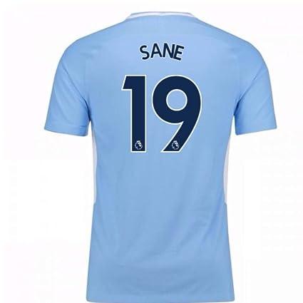 48f8636aeb9 Amazon.com   2017-18 Man City Home Football Soccer T-Shirt Jersey ...