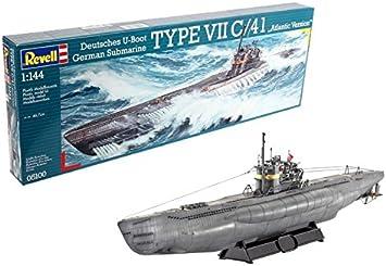 Revell 5100 Submarino alemán Tipo VII C/41 - Maqueta de submarino (escala 1:144) [importado de Alemania]