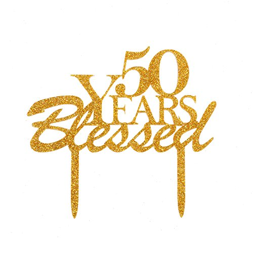 (50 Years Blessed Cake Topper, Acrylic Cake Decor for 50th Birthday Party, Wedding Anniversary Celebrating- Gold)