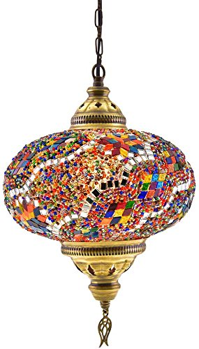 (6 Variations) Newest CopperBull 2018 XL Turkish Moroccan Tiffany Style Handmade Mosaic Hanging Ceiling Lamp Light Pendant Fixture Lantern, XL - 10
