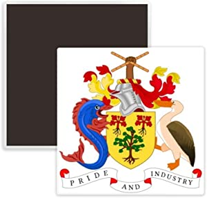 Bridgetown Barbados National Emblem Square Ceramics Fridge Magnet Keepsake Memento