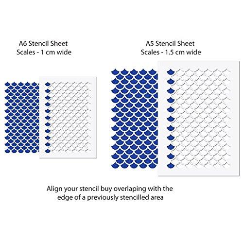 CraftStar Mermaid Scales Pattern Stencil Airbrush Craft Template