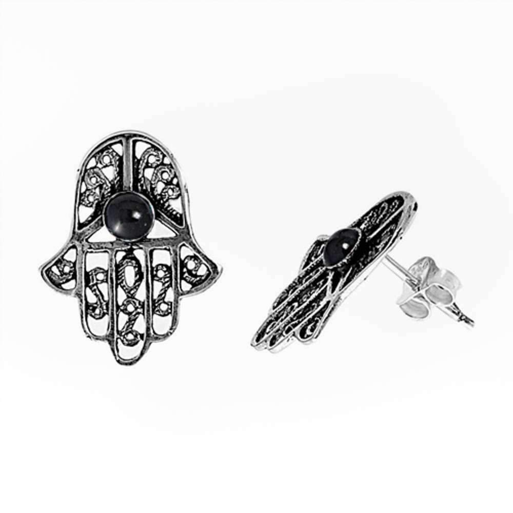 Hamsa with Black Onyx .925 Sterling Silver Earring