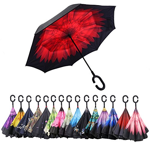 C Shape Handle - AWEOODS Inverted Umbrella Windproof Reverse Folding Double Layer Travel Umbrella with C Shape Handle (Carmine Red)