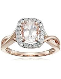 14k Pink Gold Morganite and Diamond (0.25 cttw, H-I Color, I2-I3 Clarity) Ring, Size 7