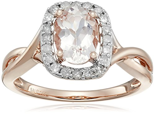 14k Rose Gold Morganite and Diamond Ring (1/4 cttw, H-I Color, I2-I3 Clarity), Size 7 by Amazon Collection
