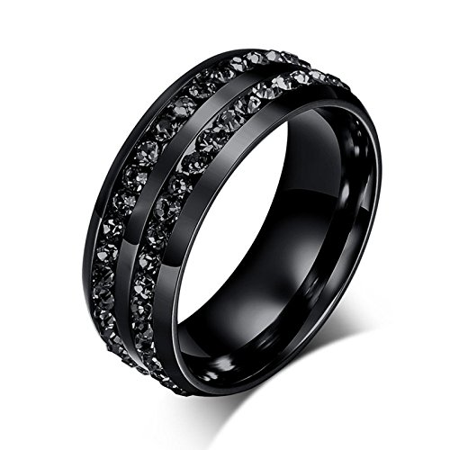 Aokarry Titanium Steel Rings Black 2 Rows Black CZ Insert Black Plated for Men 8MM Size -
