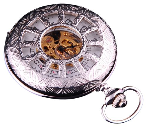 Skeleton Pocket Watch Steampunk Mechanical Movement Hand Wind Silver Tone Half Hunter White Dial PW-66