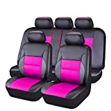 CAR PASS - 11PCS Luxurous PU Leather Automotive Universal Seat Covers Set Package-Universal fit for Vehicles,Cars,SUV,With Super 5mm Composite Sponge Inside,Airbag Compatible (Balck And Rose Pink)