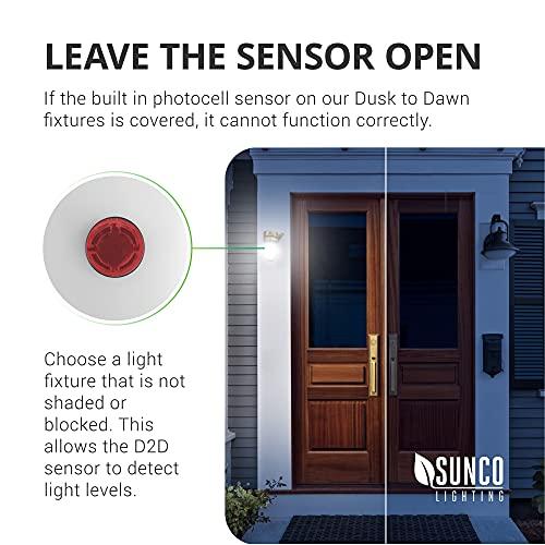 Sunco Lighting 4 Pack A19 LED Bulb with Dusk-to-Dawn, 9W=60W, 800 LM, 5000K Daylight, Auto On/Off Photocell Sensor - UL