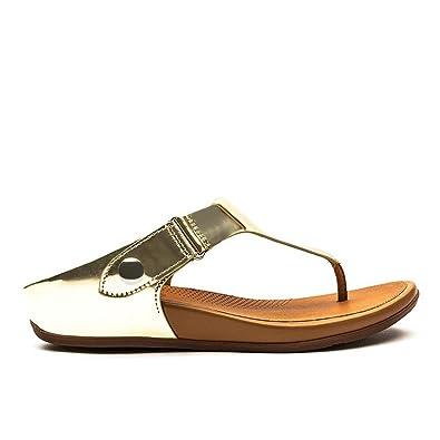 6e3b2d924f18 Fitflop Gladdie Toe-Post Sandals Metallic 8 UK Pale Gold  Amazon.co ...