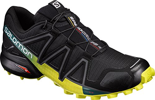Salomon Men's Speedcross 4 Trail Runner, Black/Everglade/Sulphur, 12 M US