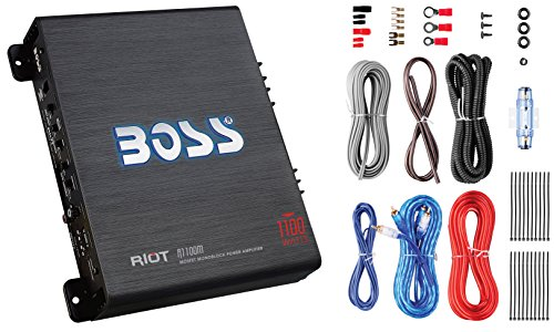 BOSS Audio R1100MK - Riot 1100 Watt Monoblock, Class A/B, 2/4 Ohm Stable, Monoblock Car Amplifier With 8 Gauge Amplifier Installation Kit (Series Riot Amplifier)