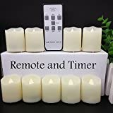 【Timer,18 Pcs Batteries Included】9 Pcs LED Votive Tea Lights Candles Battery Operated Flickering Flameless Candles 2'' Dimmable Amber Yellow Flame Light with Remote for Wedding Birthday Parties