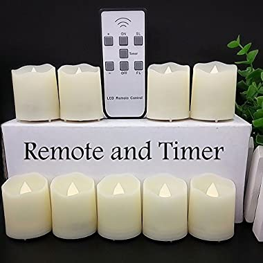 【Timer】LAPROBING® 9-Candles 18-Cells LED Battery Operated Flickering Flameless 2'' Candles 180+ Hours Dimmable Light with Remote Control for Wedding Decorations Birthday Parties Gift