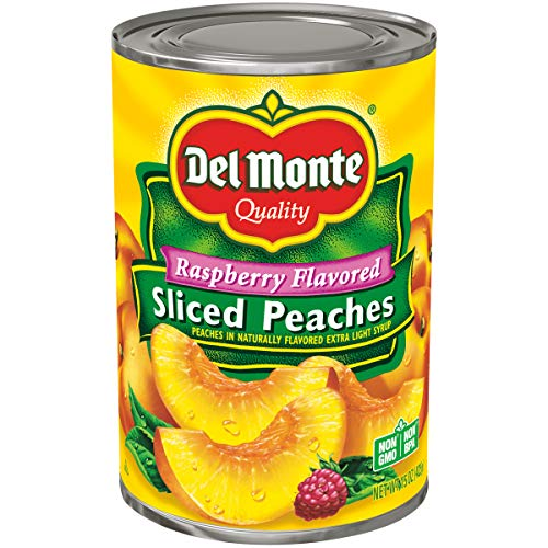Del Monte Raspberry Flavored Sliced Yellow Cling Peaches in Light Syrup, 15 Ounce (Pack of 12)