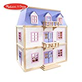 Melissa & Doug Modern Wooden Multi-Level Dollhouse (Dolls & Dollhouses, 19 Pieces, White, 28' H x 15.5' W x 24' L)