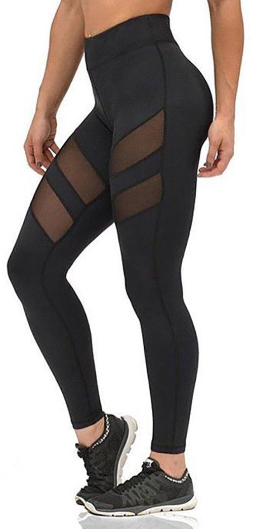 Nulibenna Women's Mesh Stretchy Workout Sportys Yoga Leggings Ninth Pants,Black 1,Medium by Nulibenna (Image #1)