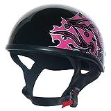 CUSTOM BILT Women's Hawk Tribal Motorcycle Half Helmet - MD, Black/Pink