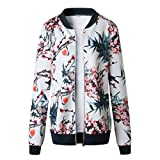 TLoowy Clearance! Womens Floral Print Bomber Jacket Coat Lightweight Zip up Baseball Jacket Autumn Windbreaker (Blue, XL)