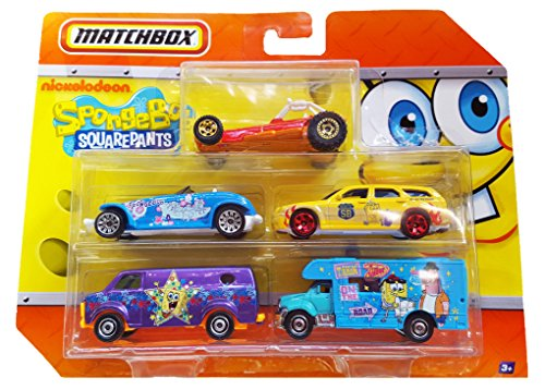 MATCHBOX 2011 SPONGEBOB SQUAREPANTS CAR SET, DODGE MAGNUM, DODGE PROWLER, CHEVY VAN, DUNE BUGGY, MOTOR HOME.