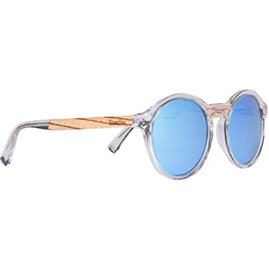 7d532de2862 WOODIES Clear Acetate Round Sunglasses with Polarized Blue Lens in Wood  Display Box (Blue)